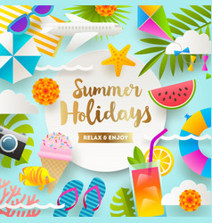 summer holidays and beach vacation design vector image vector image