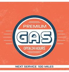 Vintage Gasoline Sign Retro Template vector image