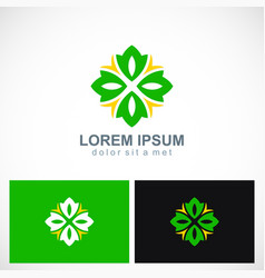 green abstract circle flower logo vector image