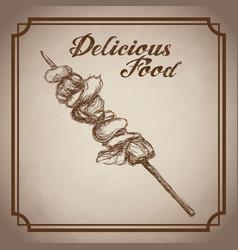hand drawn kebab delicious food sketch vintage vector image