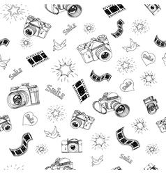 Photography sign and symbol doodles hand drawn set vector image