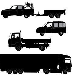 Transportation icons collection - car silhouette vector image