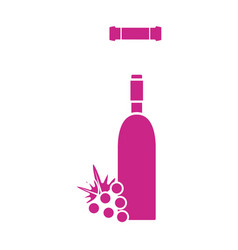 wine bottle with grape fruit and corkscrew vector image vector image