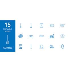 15 farming icons vector