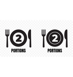 2 portions food meal package icons plate with vector