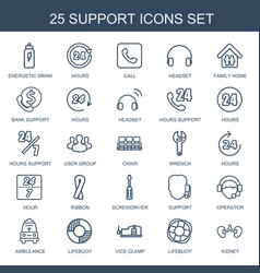 25 support icons vector