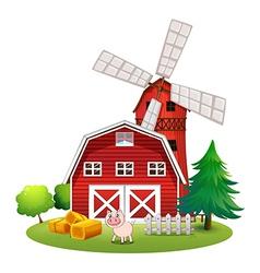 A red barnhouse at the farm vector