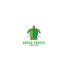 Abstract animal sea turtle with leaf logo design vector
