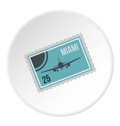 Air ticket to Miami icon flat style vector