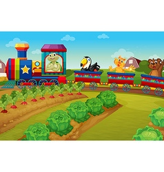 Animals riding on train by the farm vector