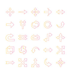 Arrows gradient style icons group design vector