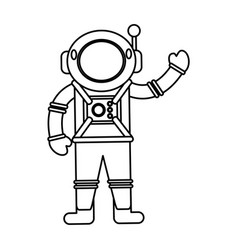 Astronaut spacesuit helmet outline vector