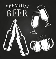 Beer glasses bottles and mugs on chalkboard vector
