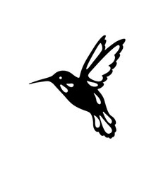 bird of hummingbirds outline black shadow laser vector image