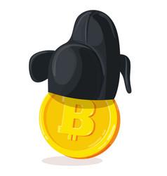 bitcoin in korean hat vector image