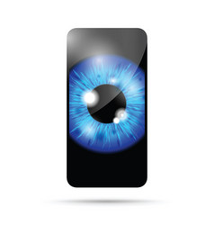 blue realistic eyeball on a cell mobile phone vector image