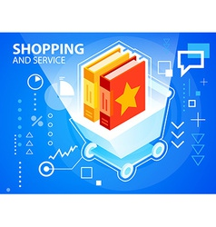 Bright shopping trolley and books on blue ba vector
