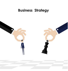 Businessmanhands and king of chess symbol with vector