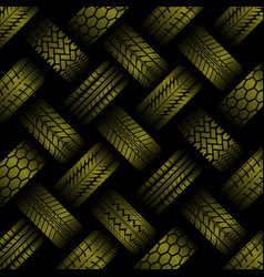 Cars yellow tire tracks background vector