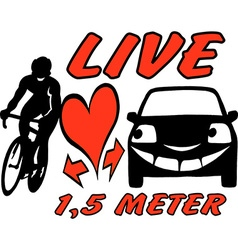 Cartoon of an biker and a car to be aware vector