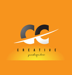 Cc c c letter modern logo design with yellow vector