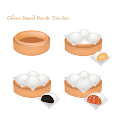 Chinese steamed bun and stuff on bamboo basket vector