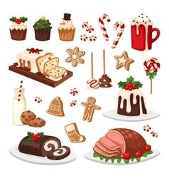 Christmas food set vector