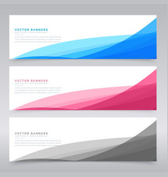 clean wave banners set of three vector image
