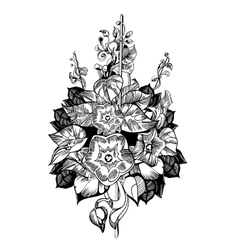Climb flower Floral monochrome vintage vector