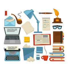 content writing equipments and objects laptop and vector image