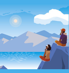 Couple contemplating horizon in lake and mountains vector