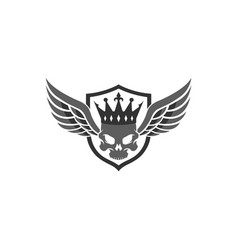 creative wings skull vintage crown king shield vector image