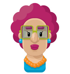 Curly purple hair woman flat icon vector