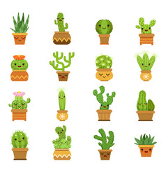 cute desert plants cactus in pots cartoon vector image