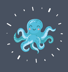 cute octopus on dark vector image