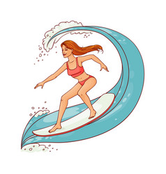 cute woman riding wave on surfboard vector image