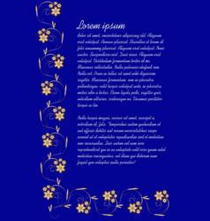 Dark blue background with elegant gold vintage vector