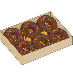 Donuts inside the box isolated on white background vector