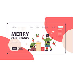 elves in costumes preparing gifts mix race boy vector image