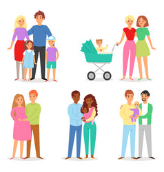 Family people character woman man children vector