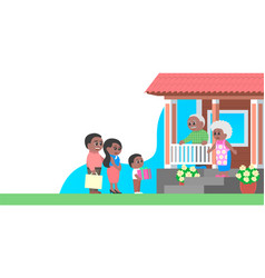 Family with gifts visits grandparents vector