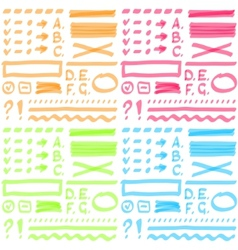 Four color set Hand drawing elements for select vector image
