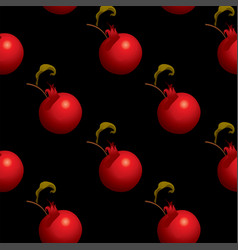 Fruit seamless pattern with red ripe pomegranates vector