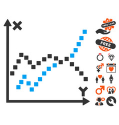 Functions plot icon with love bonus vector