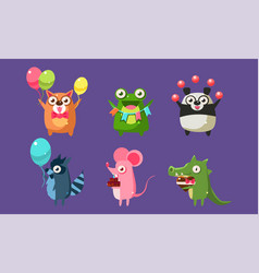 funny animal characters having fun at birthday vector image