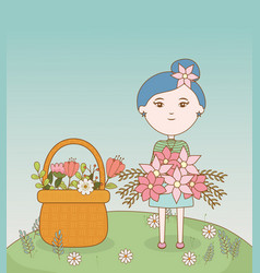 girl with flower in hair and bouquet flowers vector image