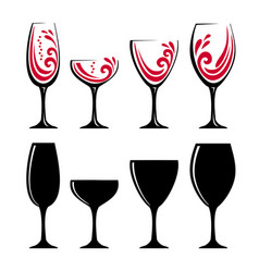 glass of red wine or juice vector image