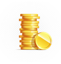 Gold coins isolated on transparent in different vector