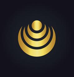 Gold radar wifi signal abstract technology logo vector