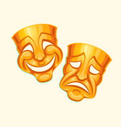 Golden comic and tragic theater mask vector